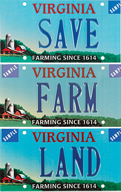 Virginia license plates featuring a farm theme.