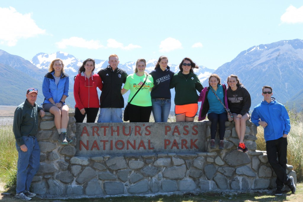 The group enjoying the spectacular scenery at Arthur's Pass National Park in the Southern Alps of the South Island between the Canterbury Region and the West Coast.