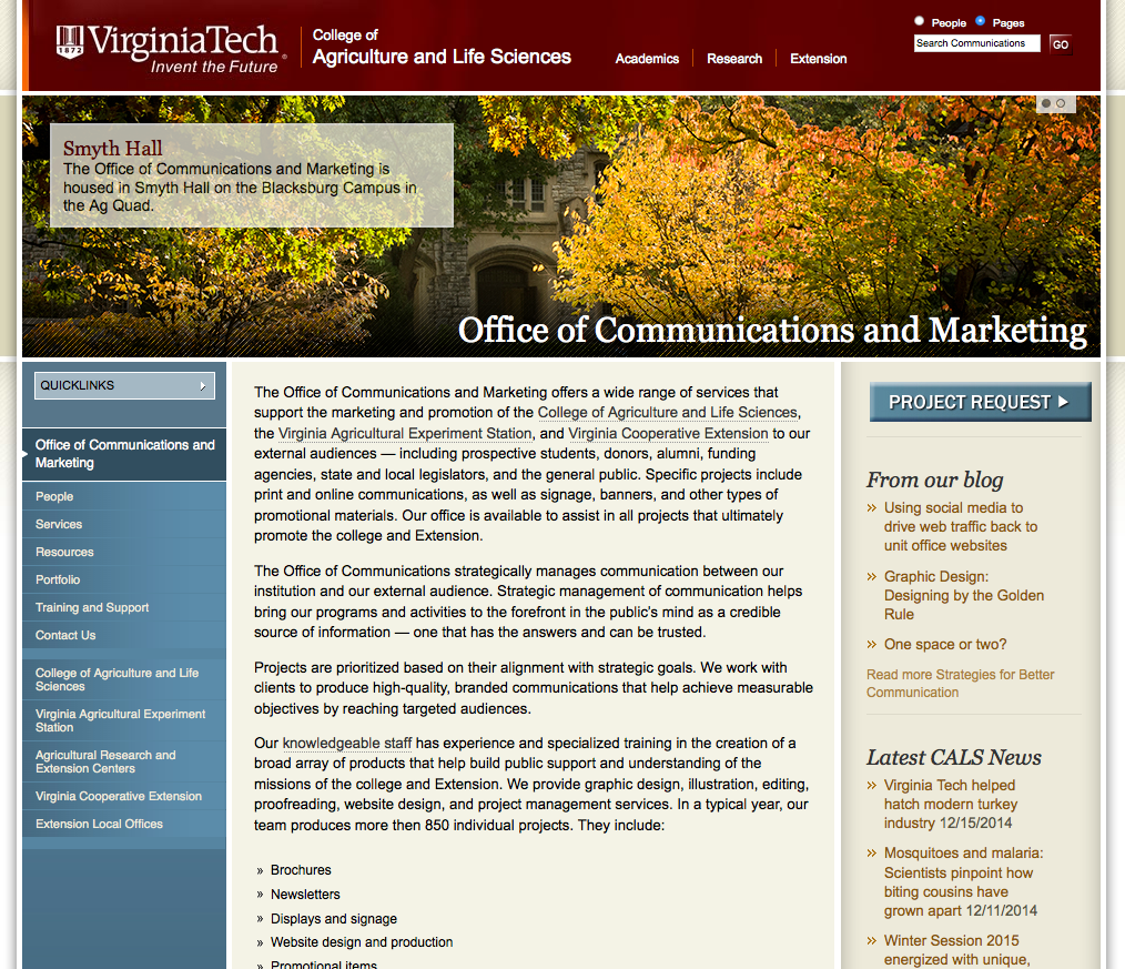 Screenshot of the CALS Communications website.