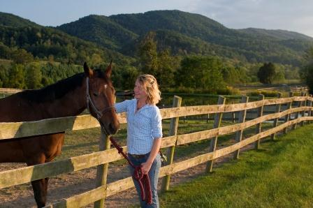 Jennifer Nicole (Jeni) Lamb, PSci; with horse at Paris Mtn Stables