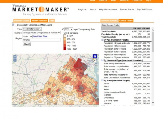 Figure 6: Market Research Tool By clicking on the Market Research tool on the state partner's home page, you can select and map several data sets to help identify target markets and more.