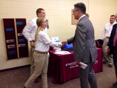 "Kohl Centre ""Using Market Maker to Connect Virginia Meat Producers and Processors"" Team meets Virginia Tech President Dr. Tim Sands, 10-30-14."