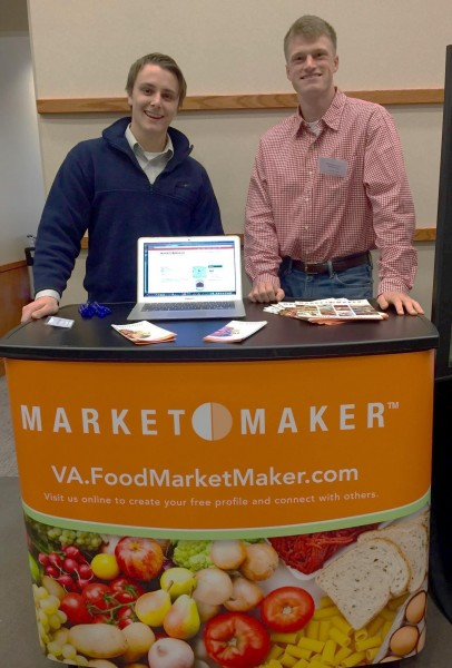 Garrett Gregory (left) and Montgomery McCarthy with Virginia Market Maker kiosk