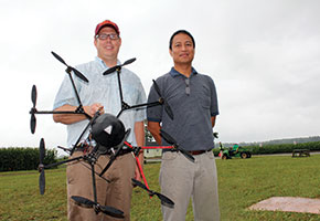 Jim Owen (left), and his collaborator, Joe Maja from the University of Florida, with one of their drones that can help in inventory management of ornamental crops.