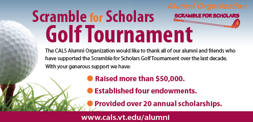 scramble for scholars golf tournament ad