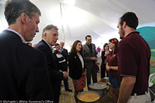 Among the thousands of people who visited the college's display at the State Fair of Virginia were (from left) Virginia Secretary of Agriculture and Forestry Todd Haymore, Virginia