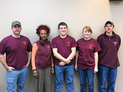 Two Virginia Tech teams wrap up 2014 with strong showings at national competitions. The Crop Judging Team (left to right) Robert Longest, Professor Ozzie Abaye, Evan Harver, Jenna Swanson, and Patrick Ransom.