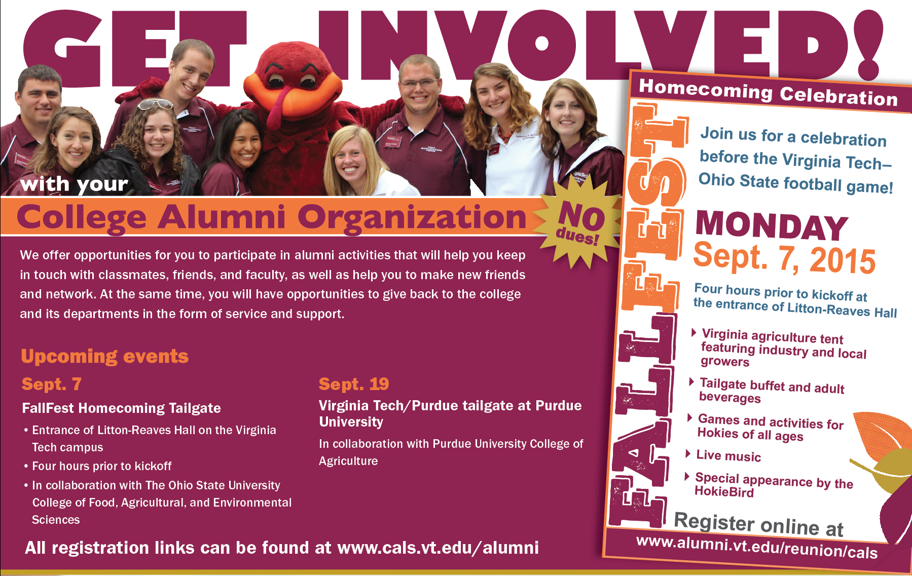 Get involved with your College Alumni Organization