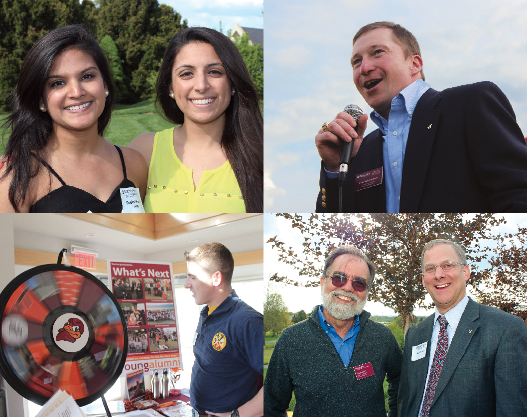 Photo collage of graduating seniors at an alumni event.