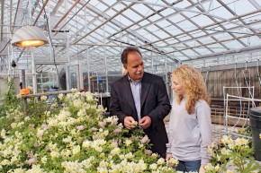 Professor of Horticulture Alex Niemiera and Elizabeth Wilson of Axton, Virginia, discuss career options while visiting the college's greenhouses. Wilson is finishing her undergraduate degree in environmental horticulture while taking classes toward a master's degree in career and technical education.