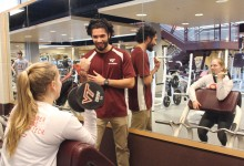 Joey Viray uses what he learns in his physiology classes when he is working with fellow students as a personal trainer.