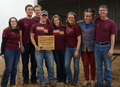 The Virginia Tech Soils Team, which won third place group judging and fifth place overall at the 2013 National Collegiate Soils Contest, were represented by (from left) Ruth Anderson, Rob Ballard, Austin Gardner, Nick Polera, Julia Gillespie, Nicole Erdmann, and Emily Baer. The team was coached by John Galbraith (far right).