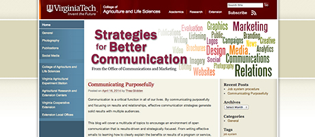 Office of Communications and Marketing blog screen shot