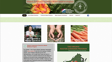 Master Gardener website screen shot