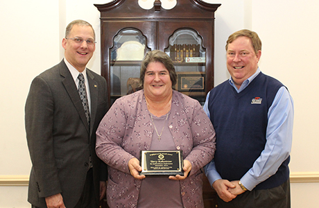 December Employee of the Month Terry Rakestraw receiving award with Dean Alan Grant (left) and Department Head Joe Marcy (right)