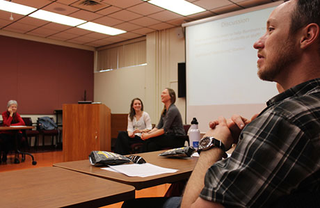 Student Emiy Blair (left) and Associate Professor Emily Satterwhite talk about Appalachian cultures at Virginia Tech.
