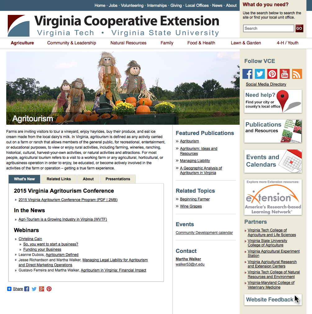 Screen shot of agritourism page on the Virginia Cooperative Extension website.