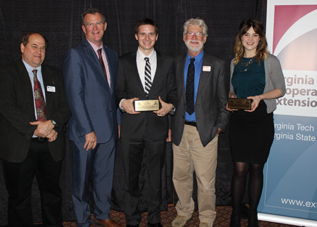 Alwood Extension Award winners, receiving their awards last month. From left: Mike Weaver, professor of entomology; Ed Jones, director of VCE; James Wahls, award winner; Doug Pfeiffer, professor of entomology; and Molly Darr, award winner